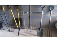 Garden Tools - spade, fork, rake, lawn edging shears