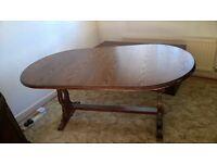 Dark oak dining room table, six chairs, display cabinet, tv unit, hifi unit,bureau, nest of tables