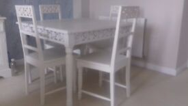Dining table and chairs with matching dresser