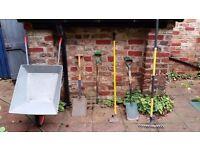 Gardening tools for sale. Spade, Shovel, Rake, Grape, Hoe