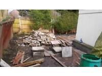 Free hardcore rubble - cement chunks / stone bricks.