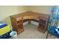 Corner desk Ducal pine with matching tall bookcase, excellent condition