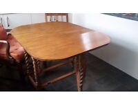 Kitchen Table -Light oak drop leaf gateleg barleycorn twist legs