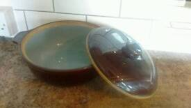 Denby casserole dish with lid.