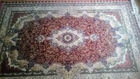 Beautiful Soft Persian Style Large RUG Medallion Pattern Dark Red Burgundy White