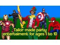 Childrens CLOWN Kids Entertainer MASCOT Superheroes AVENGERS BATMAN MANNED childs MAGICIAN BUBBLES
