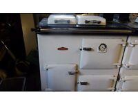 Rayburn Royal White Cooker Double Burner Hot Water & Central Heating G33 Gas Fired Right Hand Flue