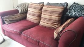 Large 2 & 3 Seater sofa in red/burgandy