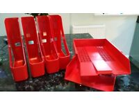 Red Filing Trays and Magazine Files