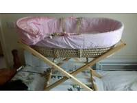 Pink moses basket/stand/extras