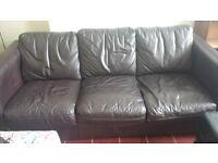 3 seater leather dark brown/black sofa