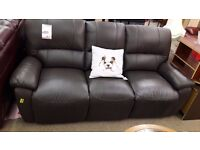 Reclining Brown Leather 3 + 2 Suite (Manual)