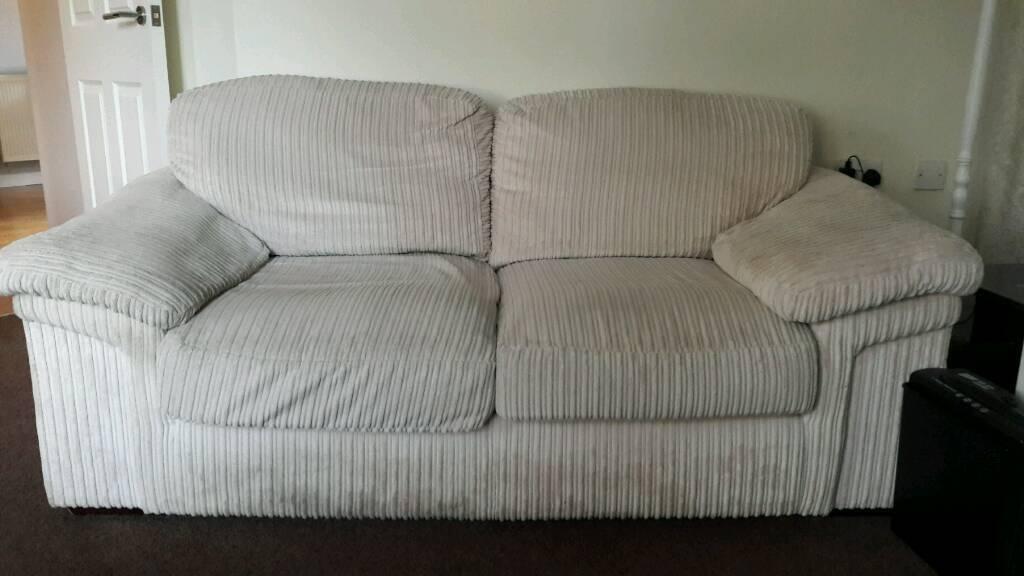 Free 2 Seater Cream Ribbed Chenille Fabric Sofa