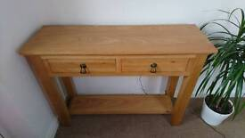 LIGHT OAK COLOUR CONSOLE HALL TABLE TWO DRAWER GOOD CONDITION RRP £299
