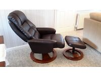 Leather swivel chair and foot stool