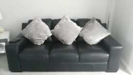 3 & 2 seater black faux leather sofas