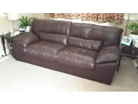 Brown Leather Sofas, one three seater and one two seater. (can be sold separately)