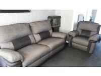 DFS Large Power Recline Sofa, Chair and Storage Pouffe - Black Grey
