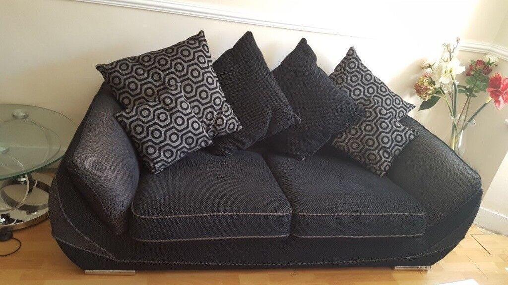 Black fabric sofa 2&3 seater