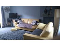 2 Yellow Leather Sofa's, bang on trend, exc condition £200. One is 6 ft3 one is 5ft 7.