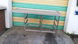 stainless steel preparation table WORK BENCH with baking tray rack FOR catering