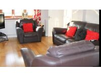 Quality Italian Brown leather 3 piece suite