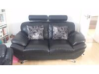 Black Leather 3 seater and 2 seater sofa £500