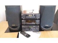 Technics HiFi with Amp/cd/tuner/sound processor/speakers/ipod-mp3 player lead +remote +manual