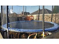 14FT TRAMPOLINE WITH SAFETY NET, PADDED POLES AND SKIRT
