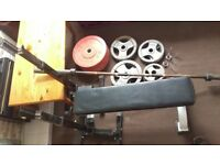 Olympic weights 180kg with 7ft bar bench and stand