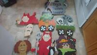 Handcrafted wooden Halloween Decorations 8 Pieces