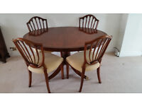 Mahogany dining table and four chairs - Price Reduced