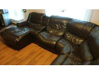 Large Leather Corner Sofa Brown with Reclicer End