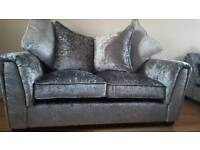 BRAND NEW Crushes Velvet Silver Grey Sofa RRP £499 DELIVERY AVAILABLE