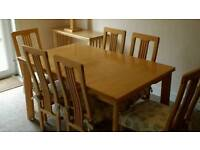 Extending dining table and 6 chairs - £100