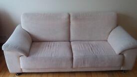 Large cream 2 seater sofa fabric