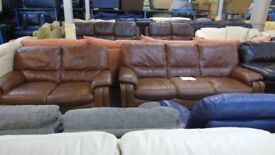 PRE OWNED 3 seater + 2 seater in Brown Leather