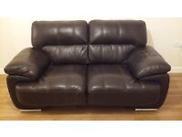 Dark Brown GENUINE Leather 3 & 2 Seater Sofas. EXCELLENT CONDITION.