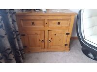 SOLID WOOD CABINET WITH 2 DRAWERS AND UNDER SHELVES CENTRE/COFFEE TABLE WITH DRAWER AND SIDE TABLE