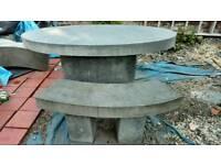 Terrazzo Garden Furniture Set, Table plus 4 Benches