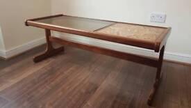 G plan Teak Coffee table tiled smoked glass top 1970s Vintage retro