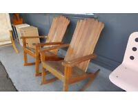 Pair Of Vintage Garden Rocking Chairs