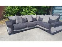 Black and gray corner sofa 119 inches by 84