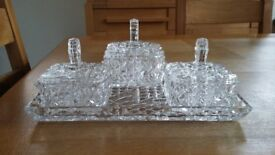 Retro/vintage cut glass dressing table set in excellent condition