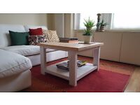 Solid wood coffee table with pine planks. Whitewash.