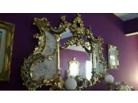 Very big mirror baroque rococo antique french ornate carved gilding leaf