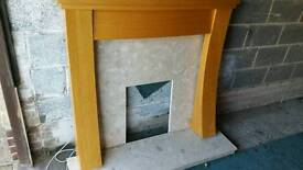 fire surround excellent condition marble back and bottom built in spot lights