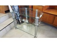 Clear Glass TV Unit. Excellent Condition