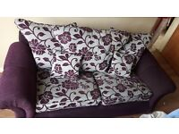 Lovely purple and grey sofa and chairs 3+1+1