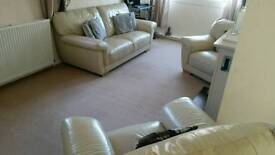 White Leather Sofa & Armchairs